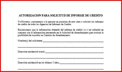 Autorizacion de solicitud de informe de credito