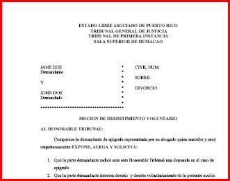 Moci n desistimiento voluntario de divorcio for Formulario desistimiento
