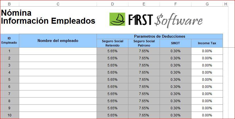 Tabla para n mina de empleados por contable for Tabla de nomina