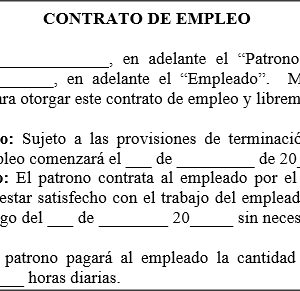 Contrato de empleo modelos de for Modelo contrato de trabajo servicio domestico 2015