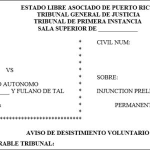 Injuction moci n desistimiento voluntario for Formulario desistimiento
