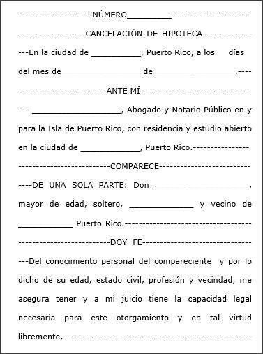 Hipoteca escritura cancelaci n for Contrato de hipoteca