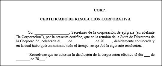 Disolucion De Corporacion